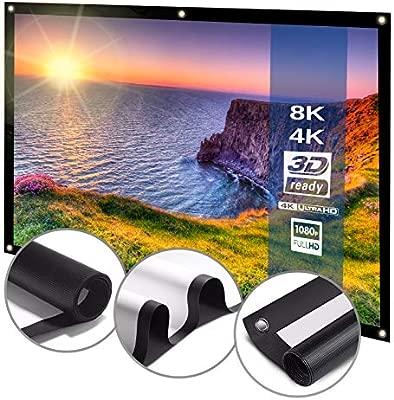 Pantalla Proyector Plegable y Portátil 178x100cm - Disponible en 80,100 y 120 pulgadas, Tejido Blanco Mate, 16:9 HD, 2K, 4K - Cine en Casa, ...