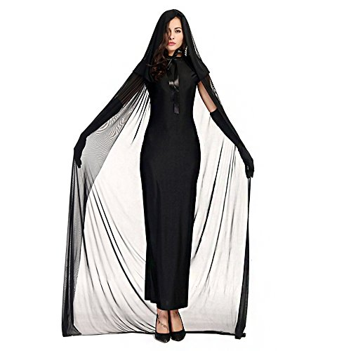 Gothic Witch Adults Costumes (Drizzle Halloween Carnival Black Gothic Sleeveless Long Witch Costumes Ghost Cosplay Dress Female Witch Costume Women Adult and Kids Long Dress Cosplay Cloth)