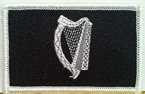 IRISH IRELAND Flag Embroidered With VELCRO Patch MC Biker Military Tactical Shoulder Black & White Emblem #209