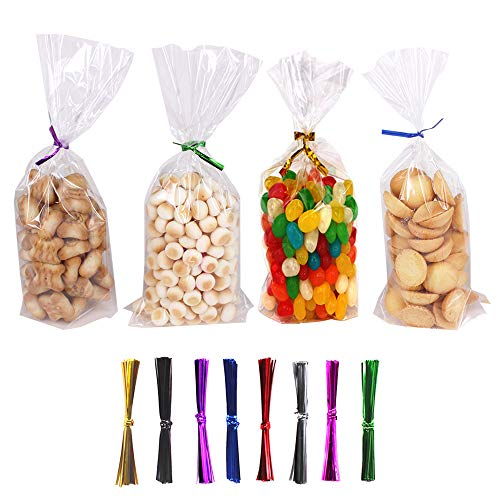 ZMYBCPACK 300 Treat Bags Cello Bags Gusseted Plastic OPP Bags (4'' x 9'') - 1.4 mils Thickness With 300 Twist Ties For Christmas, Birthday, Wedding, Party, Kitchen