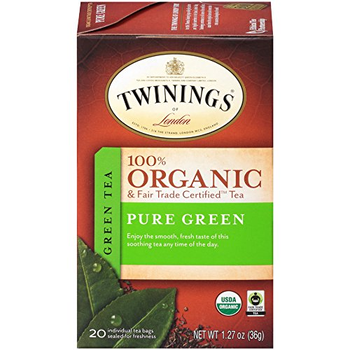 (Twinings of London Organic and Fair Trade Certified Pure Green Tea Bags, 20 Count (Pack of 6))