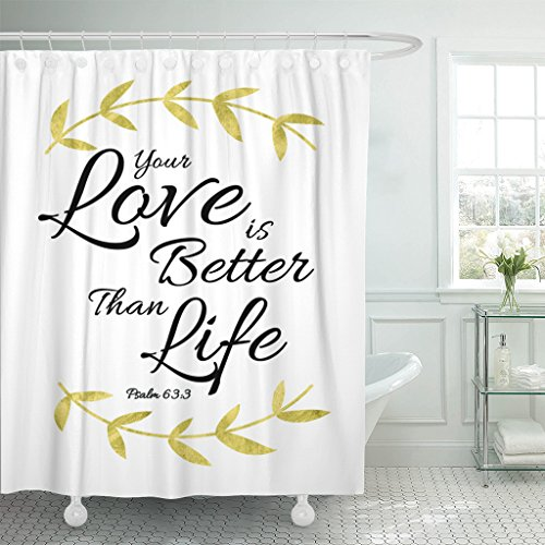 TOMPOP Shower Curtain Black Jesus Your Love Is Better Than Life Bible Verse Design Psalms Adoration Brush Waterproof Polyester Fabric 60 x 72 inches Set with Hooks by TOMPOP