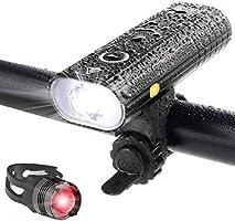 自転車 ライト LED 防水 800ルーメン 2600mAh 大容量電池 USB充電式 自転車用ヘッドライト クロスバイク ロードバイク ライト ゴムシート付き テールライト付屬 バッテリーインジケーター サイクルライト bike light...