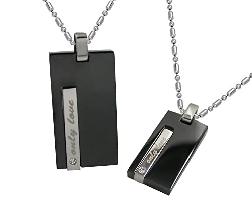 Matching Stainless Steel Only Love 2tone His her Couple Pendant Necklace Set W chains