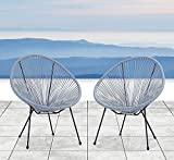 Century Modern Outdoor All-Weather Wicker Indoor/Outdoor Round Lounge Chair Set of 2 Patio Chair (Blue-Grey)