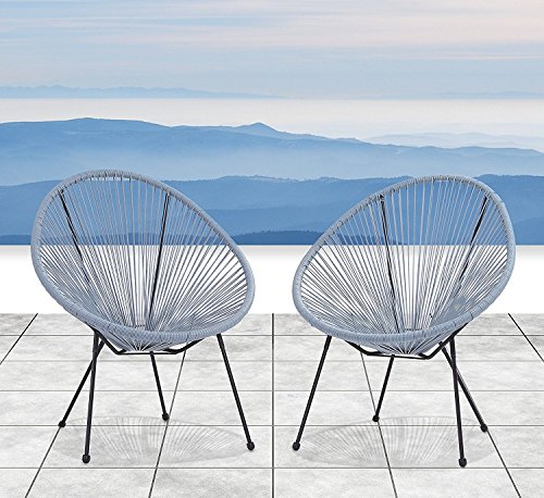 patio gift ideas , Century Modern Outdoor All-Weather Wicker Indoor/Outdoor Round Lounge Chair Set of 2 Patio Chair (Blue-Grey)