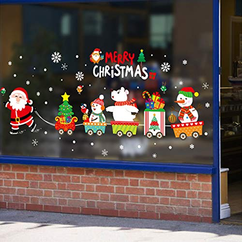 Sunm boutique Merry Christmas Window Clings Decal Snowman Christmas Tree Santa Claus and Elk Wall Stickers Christmas Decorations Removable Art Decor DIY Christmas Wall Decal