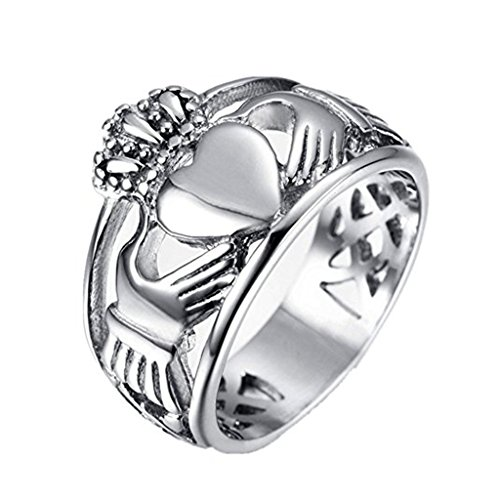 LEEYA NL28 Jewelry Men's Stainless Steel Crown Claddagh Ring with Celtic Knot Eternity Design (11)