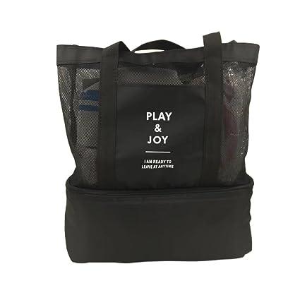 Bolsa multifunción de malla con 2 niveles y compartimento de refrigeración para picnic, con asas para colgar del hombro, bolsa de viaje plegable, para ...
