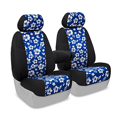 Coverking Custom Fit Front 50/50 Bucket Seat Cover for Select Lincoln Town Car Models - Neoprene (Hawaiian Blue with Black Sides) ()