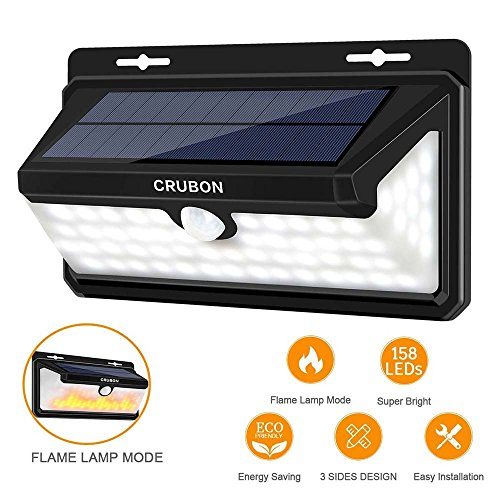 Solar Lights Outdoor, 158 LED Motion Sensor Wireless Waterproof Wide Angle Solar Powered Lights with Flame LED Bulb for Garage Patio Garden Driveway Yard by CRUBON