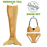(US) Tendol 3 Pc Swimming Mermaid Tail, Monofin Compatible, For Children, (Mono-fin not included) (Gold, Medium)