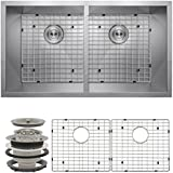 Perfetto Kitchen and Bath 32  Undermount 50/50 Double Bowl 16 Gauge Stainless Steel Kitchen Sink with Drain and...