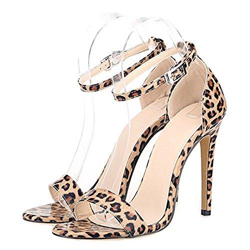 Damenschuhe Open Toe Mehrfarbig Sandalen High-Heels Stiletto Riemchen Lack Leoparden