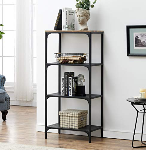 HOMYSHOPY 4-Tier Industrial Bookshelf Open Wide Office Etagere Bookcase Storage Display Shelves for Home and Office, 23.6