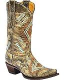 Corral Girls' Multicolored Diamond Embroidered Cowgirl Boot Snip Toe Multi 2.5 US