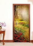 "3D Castle Lawn 45 Door Wall Mural Photo Wall Sticker Decal Wall | Self-adhesive 3D Door Wall Mural , AJ WALLPAPER US Lemon (Vinyl (No Glue & Removable), 205cm x 80cm (HxW)【81""x31""】)"