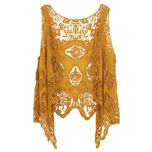jastie Open Stitch Cardigan Boho Hippie Crochet Vest (Dark Yellow)]()