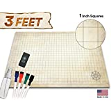 "Battle Grid Game Mat - 24"" x 36"" - Table Top Role Playing Map - DnD Role Play - RPG Dungeons and Dragons Maps Tiles - Reusable Miniature Figure Board Games - Tabletop Gaming Mats (Distressed Terrain)"