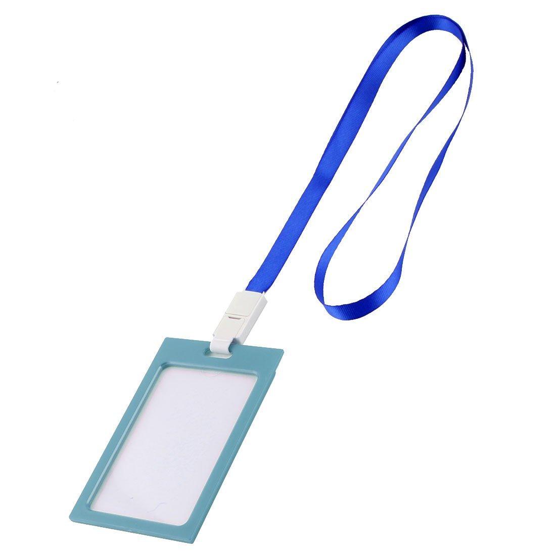DealMux School Office Plastic Rim Vertical Work Card Case 10 Pcs Aquamarine Blue w Lanyard