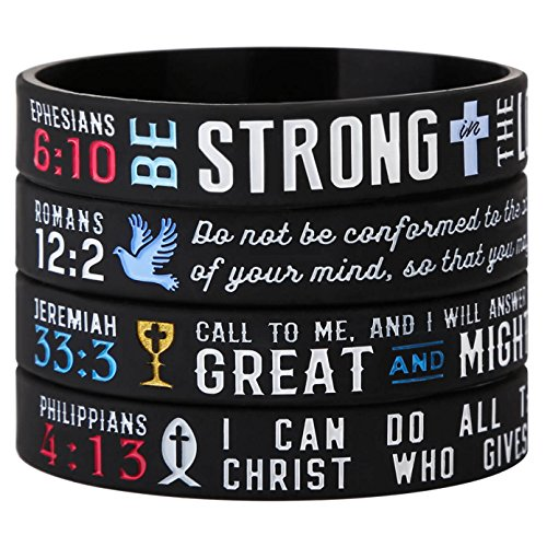 Power Wristbands - Sainstone Power of Faith Christian Bible Verse Silicone Bracelets - Religious Rubber Wristbands with Christian Symbols and Scriptures Holiday Girl Scout Gifts (Ladies)