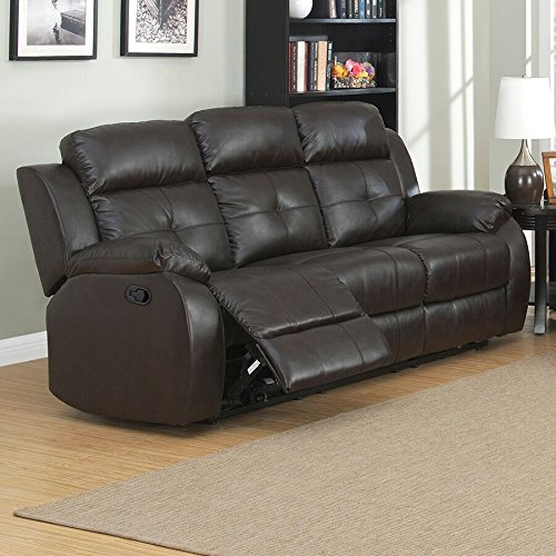AC Pacific Troy Collection Modern Upholstered Leather Transitional Reclining Sofa with Dual Power Recliners, Espresso