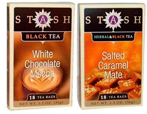Stash Black Tea 2 Flavor Variety Bundle, (1) each: Salted Caramel Mate, and White Chocolate Mocha (1.2 Ounces)