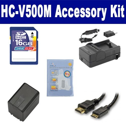 Panasonic HC-V500M Camcorder Accessory Kit includes: SDM-1529 Charger, HDMI3FM AV & HDMI Cable, ZELCKSG Care & Cleaning, SDVWVBK360 Battery, SD4/16GB Memory Card by Synergy Digital