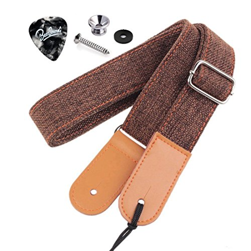Rinastore Ukulele Strap Country Style Soft Cotton Linen & Genuine Leather Shoulder Strap for Ukulele Banjo Mandolin (Coffee-US-12)