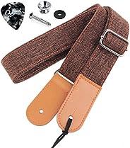 Rinastore Ukulele Strap Country Style Soft Cotton Linen & Genuine Leather Ukulele Shoulder S