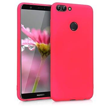 kwmobile Funda para Huawei Enjoy 7S / P Smart - Carcasa para móvil en TPU Silicona - Protector Trasero en Rosa neón