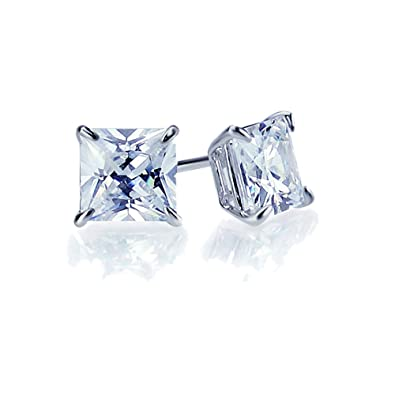 10602118a Image Unavailable. Image not available for. Color: 14K White Gold 5mm  Square Princess Cut Cubic Zirconia Basket Set Solitaire Safetyback Stud  Earrings