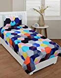 RS Home FurnishingGlace Cotton Single Bedsheet with 1 Pillow Cover, Size- 90 X 60 Inch, 144TC, 3D Printed Pattern, Multicolor