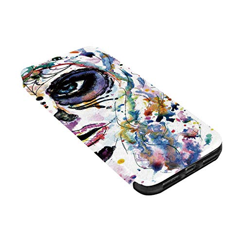 Sugar Skull Decor Leather Phone Case,Halloween Girl with Sugar Skull Makeup Watercolor Painting Style Creepy Decorative Compatible with iPhone X, iPhone -