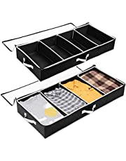 Under Bed Cloth Organizer SOLEDI Under Bed Storage 2 set with Durable Handle & Clear Window Adjustable Dividers 100x42x15cm, 63L
