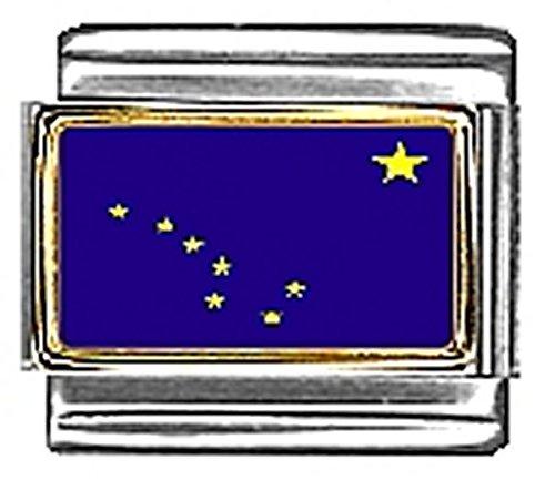 - State of Alaska Photo Flag Italian Charm Bracelet Jewelry Link 9mm