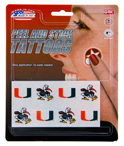 Miami Hurricanes Set (NCAA Miami Hurricanes Face Tattoos, 8-piece Set)