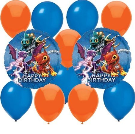12 pc Skylanders Party Balloons Kit: 2 Mylar 5 Blue 5 Orange Latex