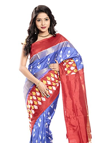 Mandakini — Indian Women's Pochampally - Handloom - Ikat Pure Silk Saree (Blue-Reddish Orange ) (MK355) by Mandakini (Image #1)