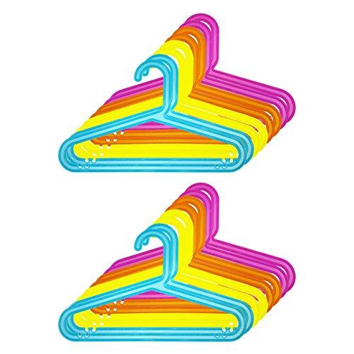 mit Hosensteg und Einkerbung f/ür Kleider und Tr/äger Gelb Quantio 16er Set Kinder Kleiderb/ügel Blau Kunststoff BxH 33,5 x 20,5 cm Orange und Pink