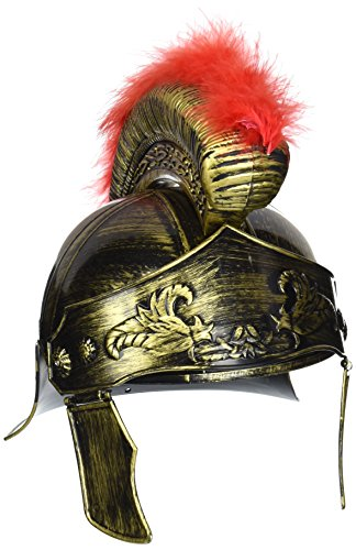 OliaDesign 405 Roman Helmet with Red Feathers Gladiator, Gold, One (Roman Soldier Hat)