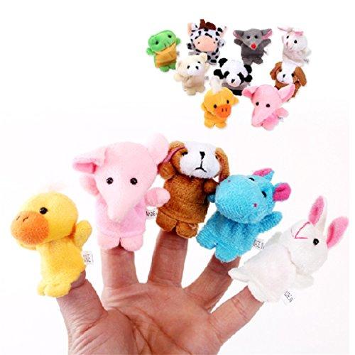 UNKE 10 Pcs Finger Puppet Set -Animal Finger Puppets Toy Children's Learn Play Story