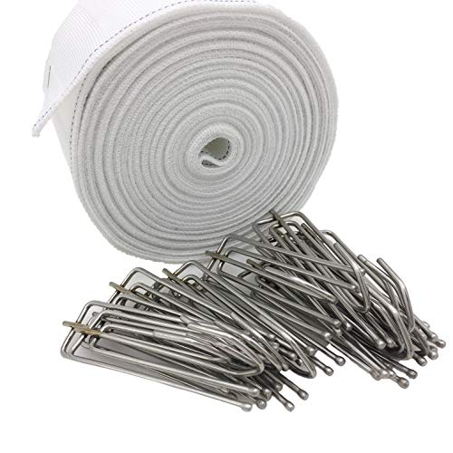 Yoead 10 Meters Curtain Tapes with 15pcs Stainless Steel Curtain Pleater Hooks for DIY Curtain (10 Meters) (Pleater Tape Curtains)