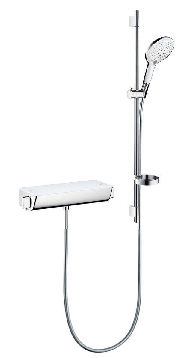 Hansgrohe Ensemble de Douche Raindance Select S 150 avec Mitigeur Thermostatique et Barre 90cm Blanc//Chrome 27037400
