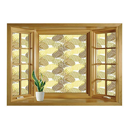 (SCOCICI Removable 3D Windows Frame Wall Mural Stickers/Pineapple,Summer Themed Overlapping Curving Tropical Pineapples with Lines Print,Gold Bronze White/Wall Sticker)