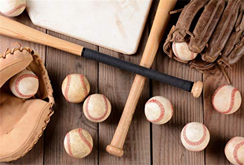 - Leyiyi 7x5ft Baseball Equipments on Wooden Board Backdrop Bats Gloves Leather Balls Handle Wood Blank Hardwood Texture Photography Background Happy New Year Xmas Photo Studio Prop Vinyl Wallpaper