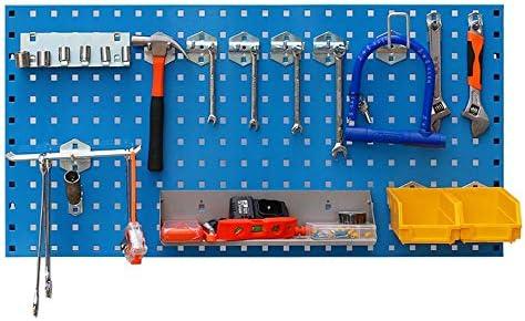 パンチングボード メタルフックボードパネルウォールコントロールフックボード工具収納90 X 45センチメートル (Color : Blue, Size : 90x45cm)
