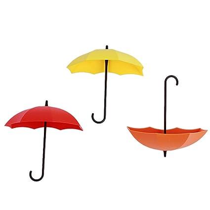 EJY 3 piezas colorido paraguas forma de pared puerta ganchos ganchos adhesivos para baño cocina colgar
