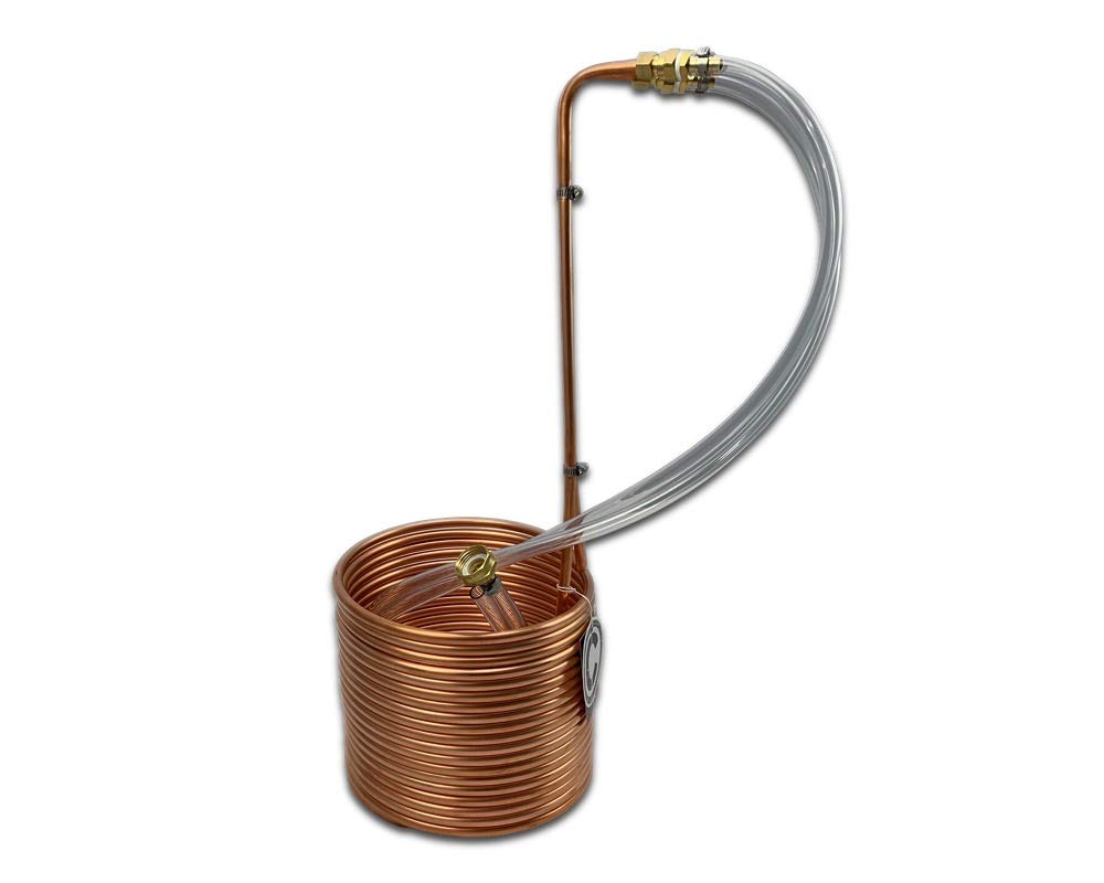COLDBREAK CB5 50' Immersion Wort Chiller, 24-inches Tall, Pure USA Copper, Compression Barb Fittings, Leak Free, 50-foot,