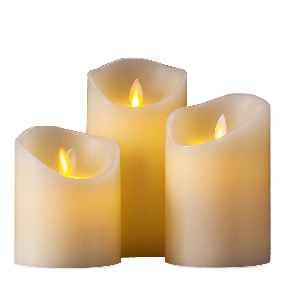 Air Zuker Flameless Candles Battery Operated Candles Real Wax Pillar LED Candles with Dancing Flame with 10-key Remote and Cycling 24 Hours Timer, Height 4'' 5'' 6'', Ivory - Set of 3